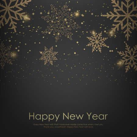 Feliz año nuevo o tarjeta de Navidad con copos de nieve dorados cayendo. Vector.