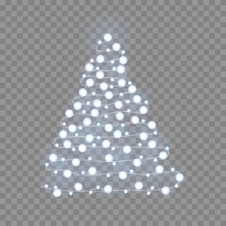 Christmas tree made of christmas lights. Vector
