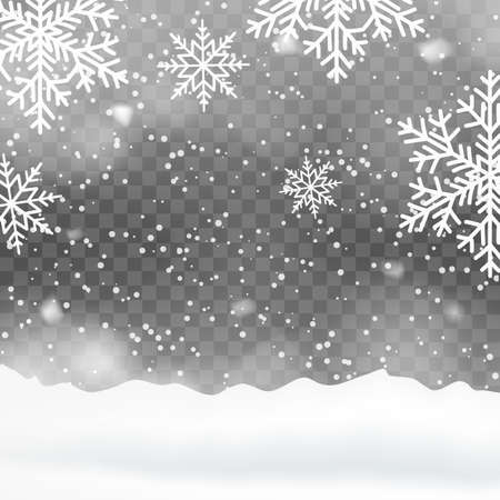 Falling snow, fog on snow-covered hills for Christmas. Vector.
