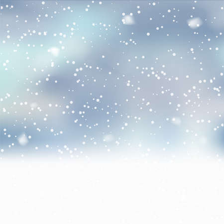 Christmas background with falling snowflakes on blue. Vector.
