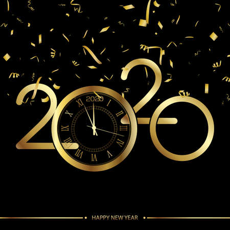 Happy New Year or Xmas greeting card with gold clock. 2020 Vector. Ilustracja