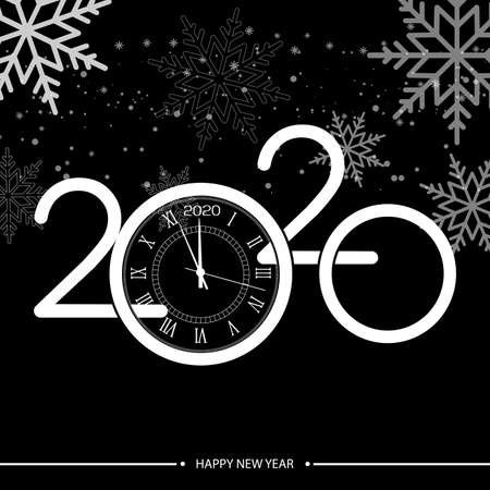 Happy New Year or Xmas greeting card with white clock. 2020 Vector. Ilustracja
