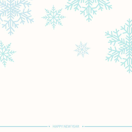 Happy New Year or Xmas card with blue snowflakes on white background. Vector