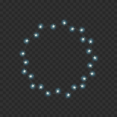 Christmas wreath, frame of New Years or Xmas bright glowing lights of garlands. Vector Иллюстрация