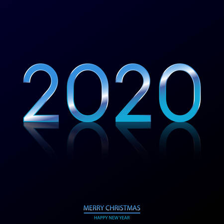 Happy New Year or Xmas card with shining blue text 2020 on black. Vector