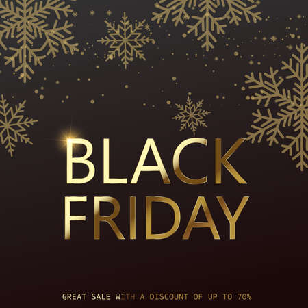 Black Friday card with gold snowflakes and text. Vector