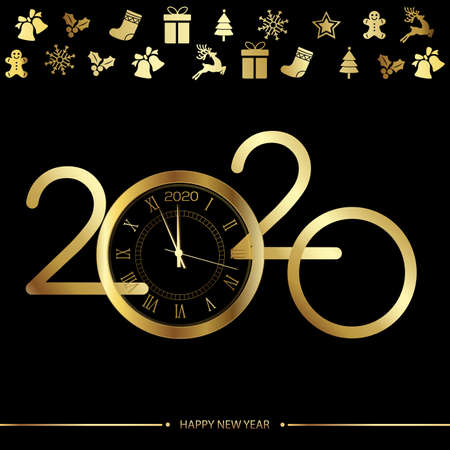 Happy 2020 new year golden card with clock on black. Vector.