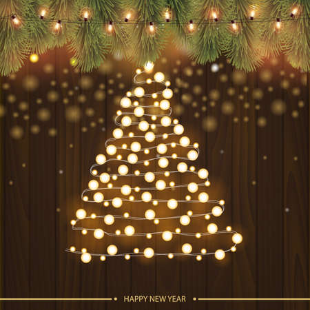 Christmas tree made of christmas lights with branches of pine. Vector.