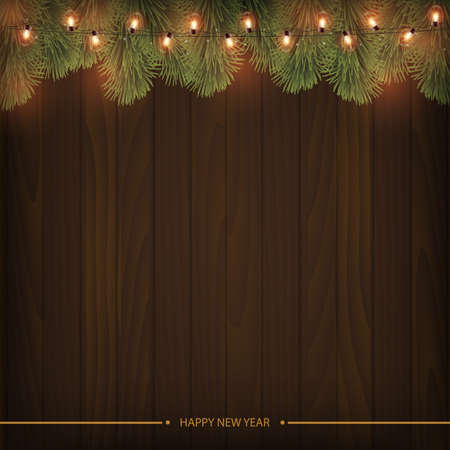 Glowing lights with branches of pine on wooden background. Vector illustration
