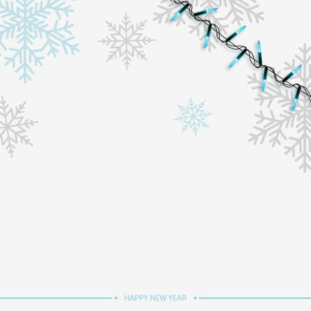 Happy New Year or Xmas card with blue snowflakes on white background. 2020 Vector