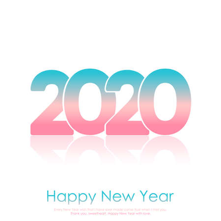 Happy 2020 new year card with gradient text. Vector.