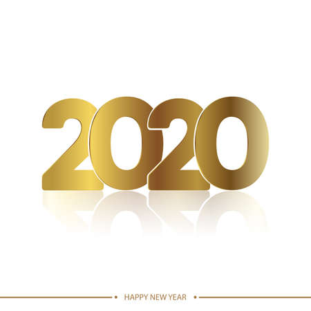 Happy 2020 new year golden card on white background. Vector.