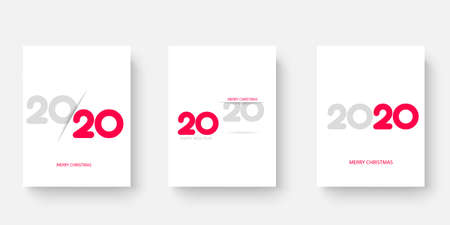 Happy 2020 Year cards set with Xmas ornaments. Vector illustration