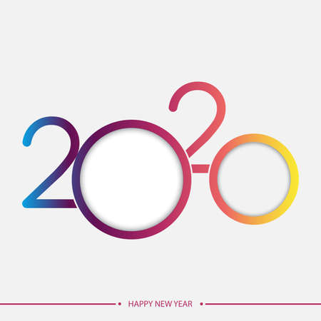Happy 2020 new year elegant greeting card with gradient text. Vector. Ilustracja