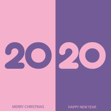 Happy 2020 new year elegant greeting card . Vector.