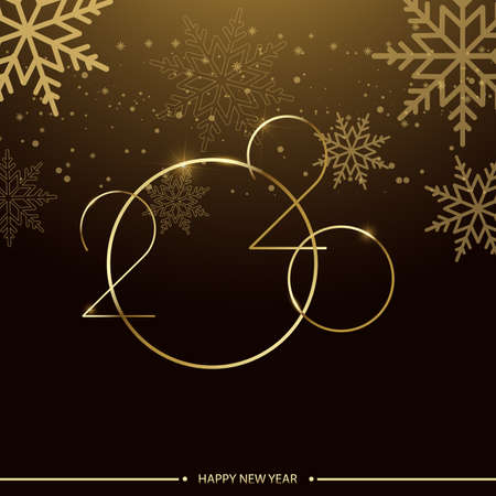 Happy 2020 Year card with shiny text and snowflakes. Vector. Ilustracja