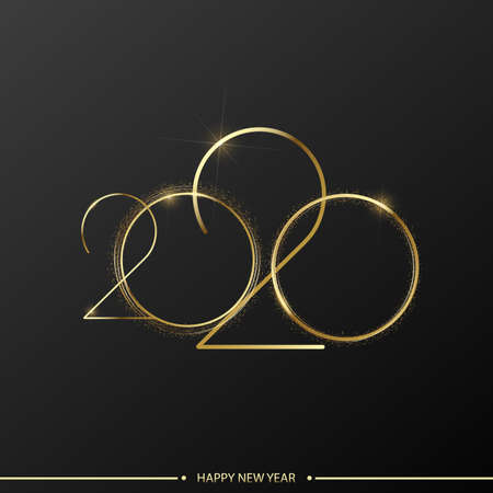 Happy 2020 Year card with gold shiny text on black background. Vector.