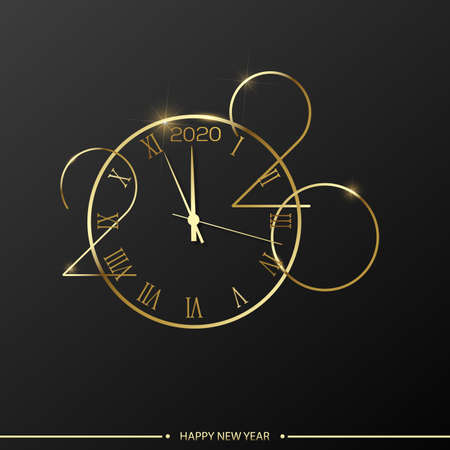 Happy 2020 Year card with golden watch on black background. Vector.