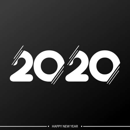 Happy 2020 Year card with creative text. Vector illustration. Ilustracja