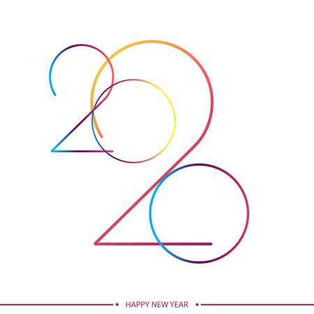 Happy 2020 new year elegant greeting card with gradient text. Vector Ilustracja