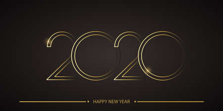 Happy 2020 Year card with line text on black background. Vector.