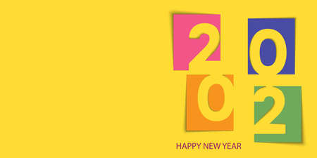 Happy 2020 Year card with paper cut out text. Xmas background. Vector. Ilustracja
