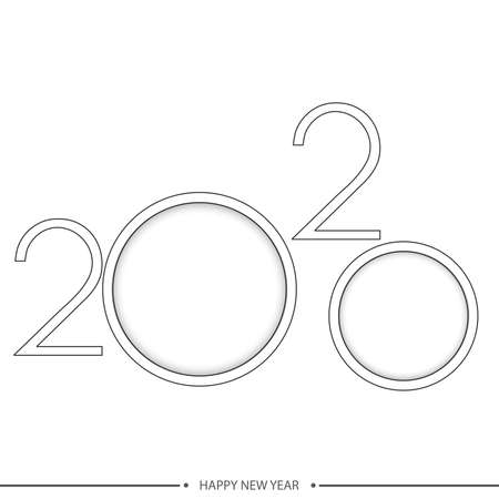 Happy 2020 Year card with line text. Vector.