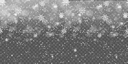 Falling snowflakes on transparent background for Christmas. Vector