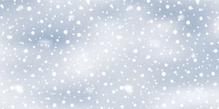 Christmas landscape with falling snowflakes on blue sky. Vector. Ilustracja