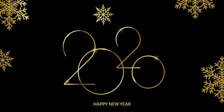 Happy 2020 Year card with golden text and snowflakes. Vector