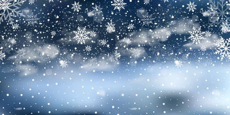 Christmas landscape with falling snowflakes on dark blue sky. Vector. Ilustracja