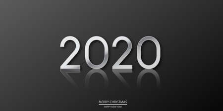 Happy 2020 Year card with metal silver text on black . Vector Ilustracja