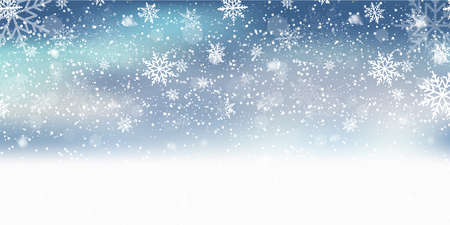 Christmas background with falling on blue sky. Xmas card. Vector