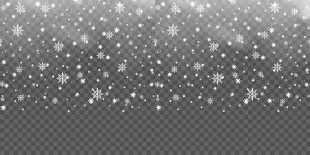 Christmas background with falling snowflakes on transparent. Vector