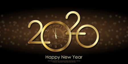 Happy 2020 Year card with golden text 2020 and clock. Vector