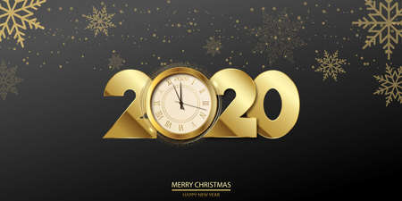 Happy 2020 Year card with golden text 2020 and clock. Vector.