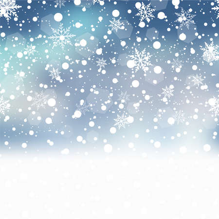 Christmas background with falling snowflakes on blue sky. Vector Vektorové ilustrace