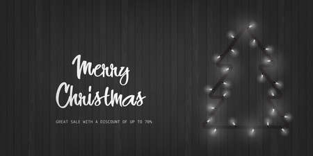 Merry Christmas and Happy New Year card with Xmas tree from lights on wooden background. Vector