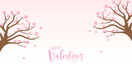 Happy Valentine's Day card with tree and hearts. Vector illustration. Banque d'images - 138259109