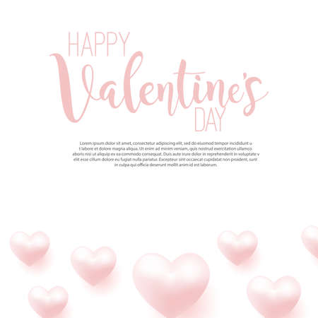 Happy Valentines Day card with flying pink hearts. Vector illustration.