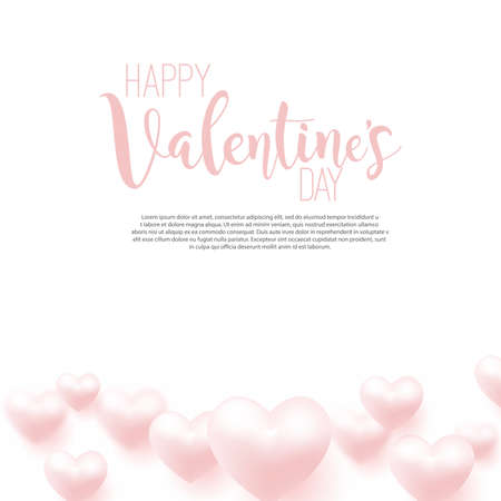 Happy Valentine's Day card with flying pink hearts. Vector illustration.
