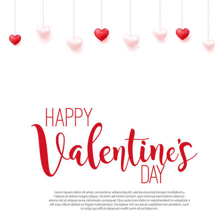 Happy Valentines Day card with hanging hearts. Vector illustration.