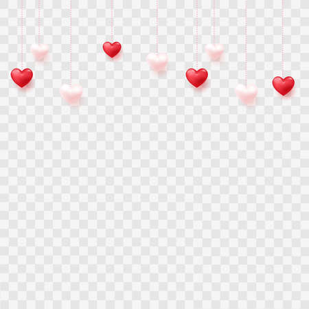 Hanging hearts on transparent background. Vector