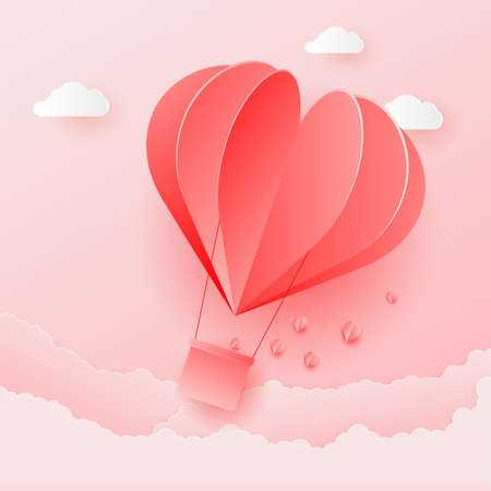 Origami Valentine's Day illustration with flying red air balloon heart. Vector.