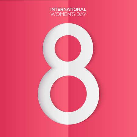 Tarjeta del día internacional de la mujer con texto recortado en papel. Vector.