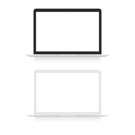 Laptop realistic computer in mockup style. Vector
