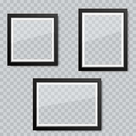 Realistic blank glass picture or photograph frame. Vector Ilustrace