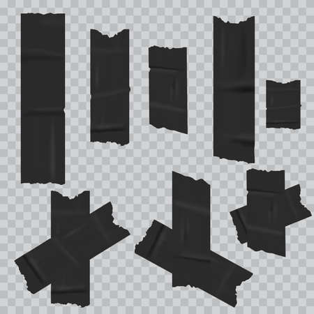 Black duct adhesive tape realistic. vector Stock Illustratie
