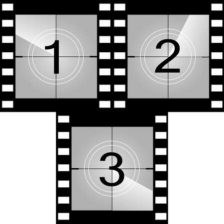 Old film movie countdown frame. Vector. Illustration