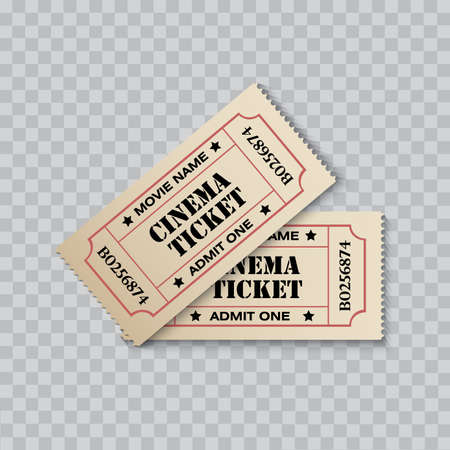Cinema ticket isolated on transparent background. Vector